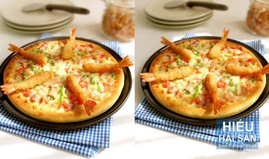 pizza tôm chiên tẩm bột
