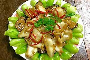 bào ngư xào rau cải